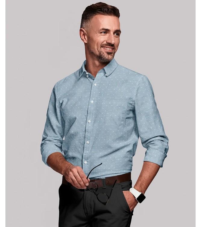 Camisa Azul Motivos Brancos