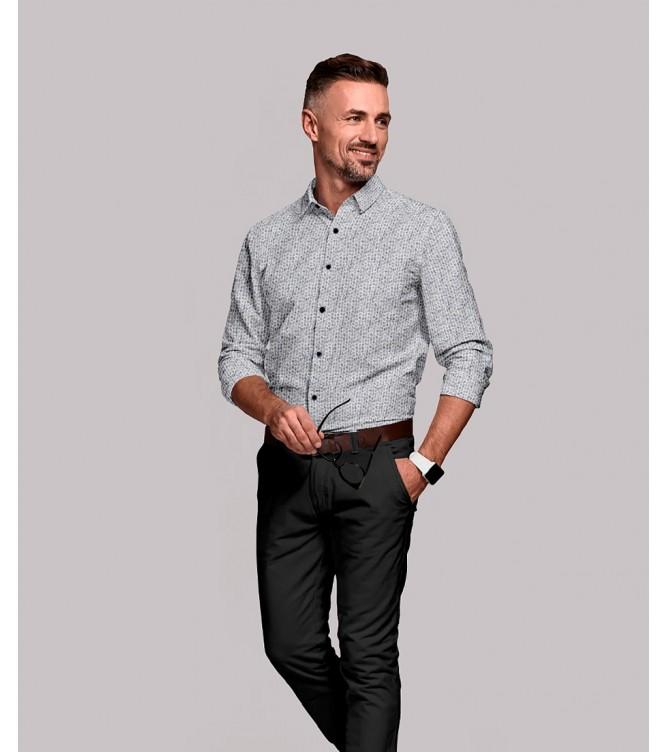 Camisa Branca Motivos Orgânicos Azuis