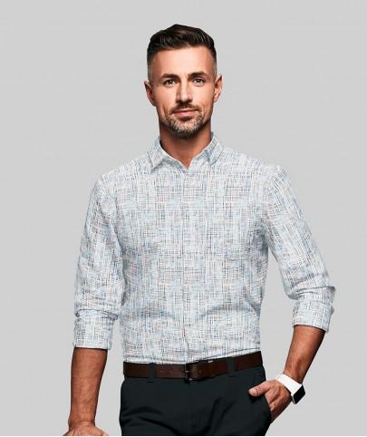 Camisa Branca Motivos Azuis e Vermelhos