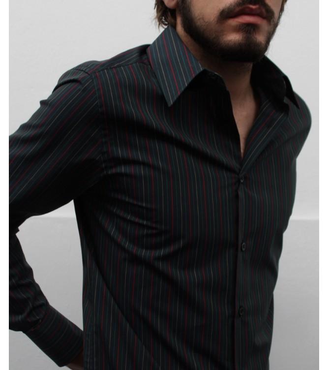 Camisa Verde Escura com Riscas Multicor
